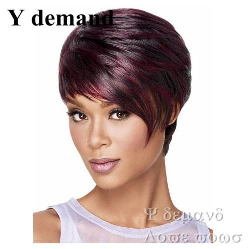 Ombre Rojo Vino Flequillo Corte Pixie Peinado Pelucas Pelucas De