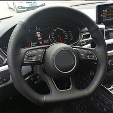цена Free Shipping High Quality cowhide Top Layer Leather handmade Sewing Steering wheel covers protect For Audi TT в интернет-магазинах