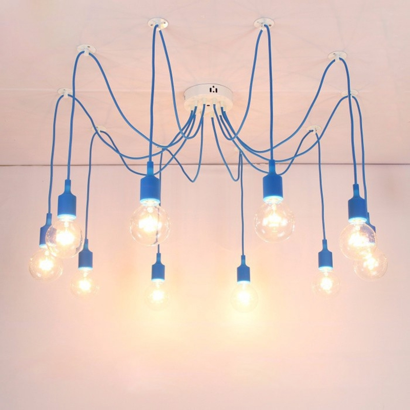 aliexpresscom buy lukloy diy pendant light lamp colorful multiple long cords spider light drop lights for kitchen living room bedroom decoration from - Multi Cafe Decoration