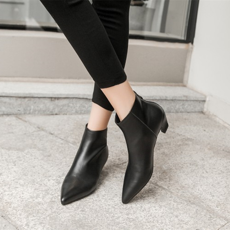 COOTELILI Shoes Woman Heels Ankle-Boots Motorcycle Pointed-Toe Botas Casual Female