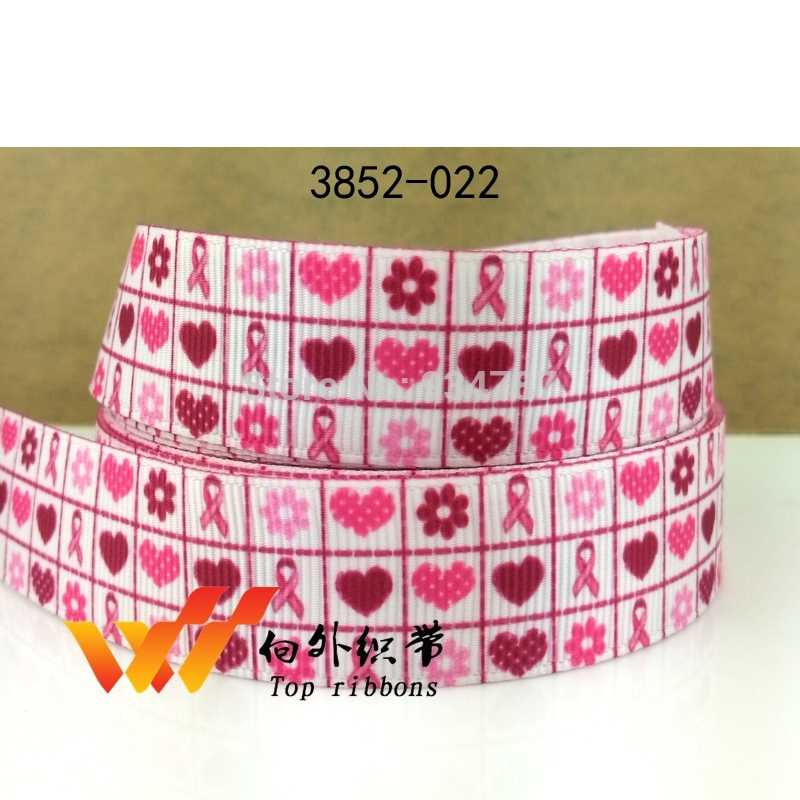 Free shipping 2016 new arrival ribbons Hair Accessories ribbon 10 yards  breast cancer awareness printed grosgrain ribbons 3847