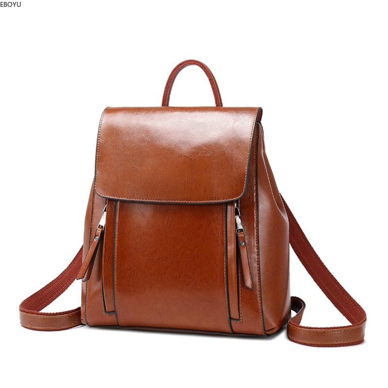 EBOYU en cuir véritable femmes sac à dos sac à main sac à dos de promenade décontracté dames sac de voyage école épaule Bookbag pour les filles