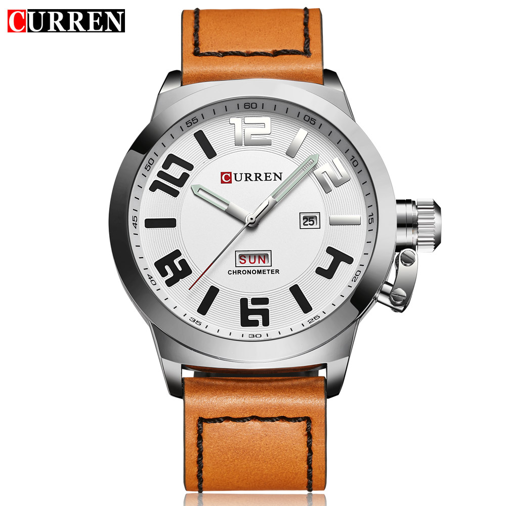 CURREN Casual Mens Watches Top Brand Luxury Men's Quartz Watch Waterproof Sport Military Watches Men Leather Relogio Masculino new crrju mens watches top brand luxury quartz watch men waterproof sport military watches men leather relogio masculino 2017