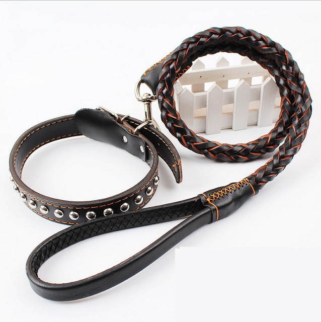 95cm High Quality Genuine Leather Large dogs Traction rope dog collar pet Traction belt Weaving round belt Collar Set For Big Do