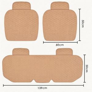 Image 3 - Linen Fabric Car Seat Cover Four Seasons Front Rear Flax Cushion Breathable Protector Mat Pad Auto Accessories Universal Size