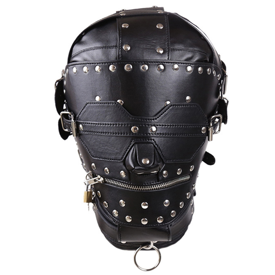 camaTech PU Leather Fetish Gimp Mask Slave Full Head Bondage Hood With Open Mouth Zipper and Locking Blindfold BDSM Adult Games adult games cosplay horse headgear leather bondage bdsm fetish slave blindfold mask cap head restraints hood sex toys products