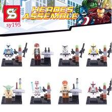 8pcs star wars super heroes marvel Han Solo Rey storm troops building blocks model bricks toys for children juguetes