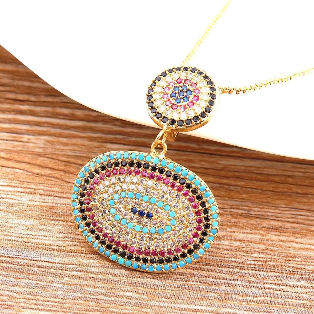 Women Necklace Metal Copper Micro Pave CZ Oval Pendant Fine Jewelry Male Best Birthday Present