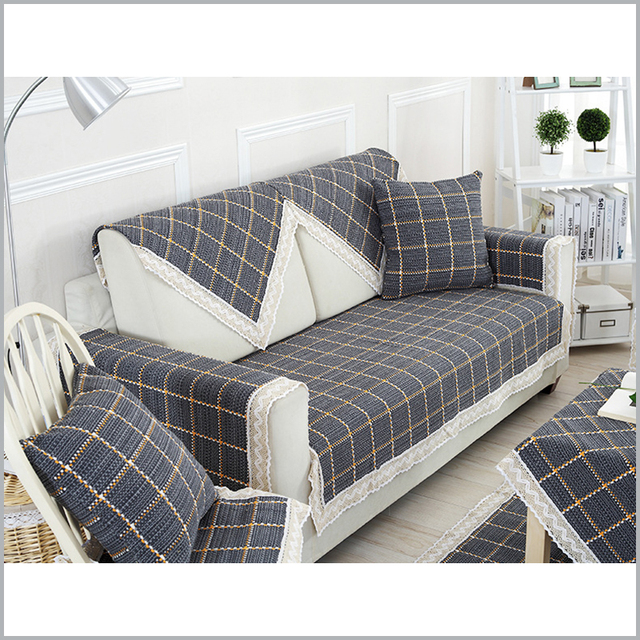 100 Cotton Sofa Cover Past Plaid Covers Fabric Funda Slipcover Couch Eco