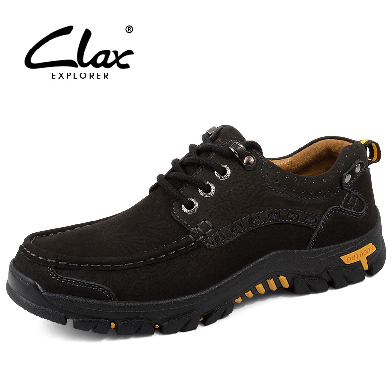 CLAX Mens Shoes Genuine Leather 2018 Spring Autumn Casual Walking Footwear Male Outdoor Leather Shoe chaussure homme mens casual shoes spring autumn mens split leather flats shoes platform zapatillas deportivas chaussure homme