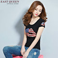 Sequin lips shirt women sexy red lips t shirt fitness ladies lips tshirt short sleeve summer style american flag clothing AA672