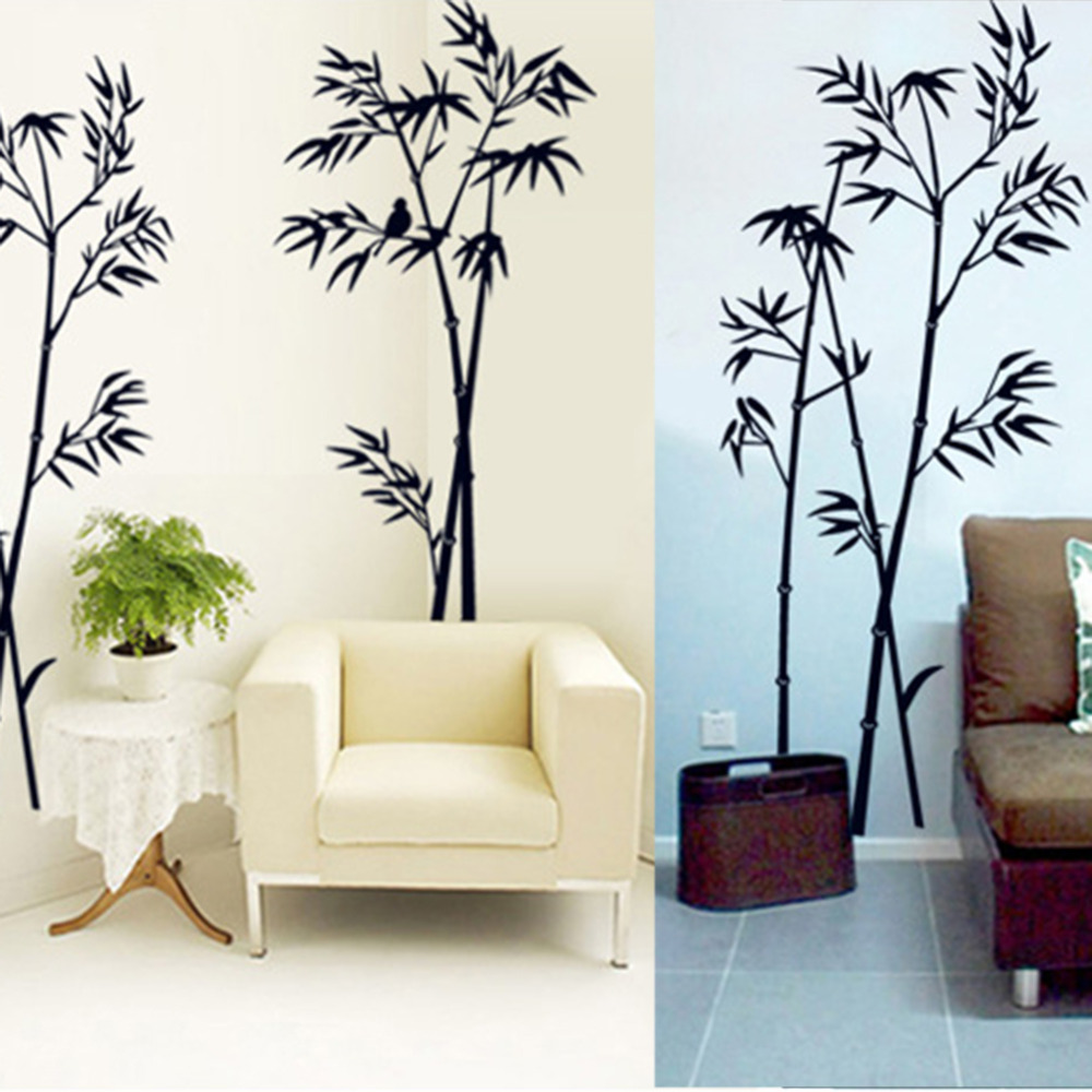 Diy art black bamboo quote wall stickers decal mural wall for Black wall mural