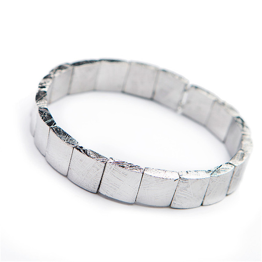 Image 2 - Genuine Natural Gibeon Iron Meteorite Silver Plated Rectangle Beads Women Man Bracelet-in Strand Bracelets from Jewelry & Accessories