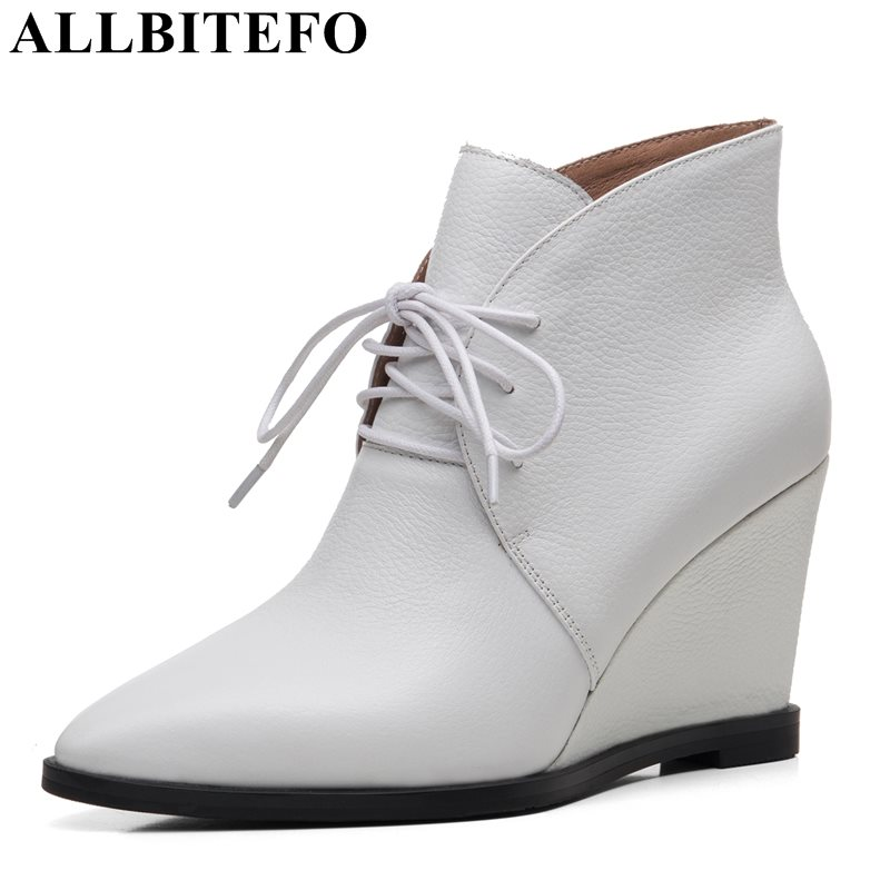 ALLBITEFO new fashion wedges heels genuine leather pointed toe women boots high quality high heels martin boots girls boots pure feather faux pearl sweater chain necklace for women