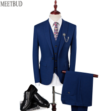 MEETBUD New brand men suit for wedding slim fit party host man blue suits business casual dress (jacket+pants+vest) 3 pieces