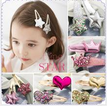 2Pcs Girls Pearl Heart Hair Clip Star crown Hairpin Accessories For Children Hair Barrette Flower Hairclip Headdress Headwear недорого