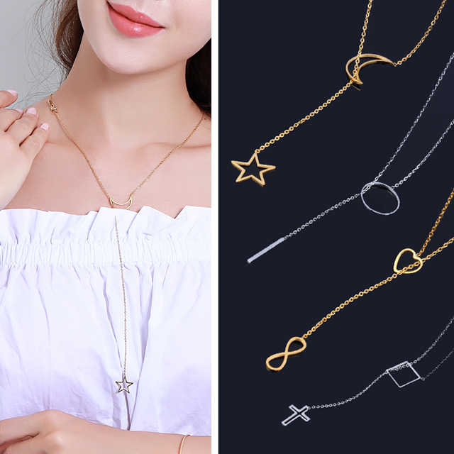 stainlesssteel chain necklace long jewelry accessories 2019 gold silver women pendant jewellery femme cross best friends female