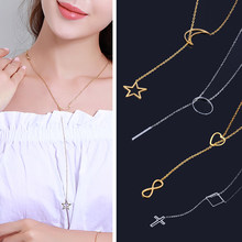 stainlesssteel chain necklace long jewelry accessories 2019 gold silver women pendant jewellery femme cross best friends female(China)