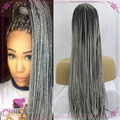 Ombre Grey Braided Synthetic Lace Front Wigs Kinky Twist Braiding Wigs Ombre Black To Grey Twist Braid Synthetic Wigs