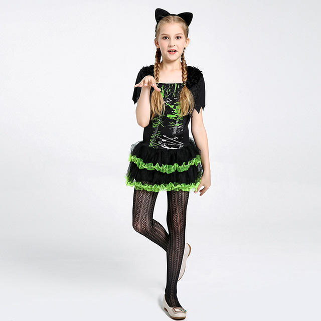 Umorden Halloween Costumes for Girls Cute Black Green Cat Girl Costume  Cosplay Dress Fancy Carnival Party Dresses 4105fdc42810