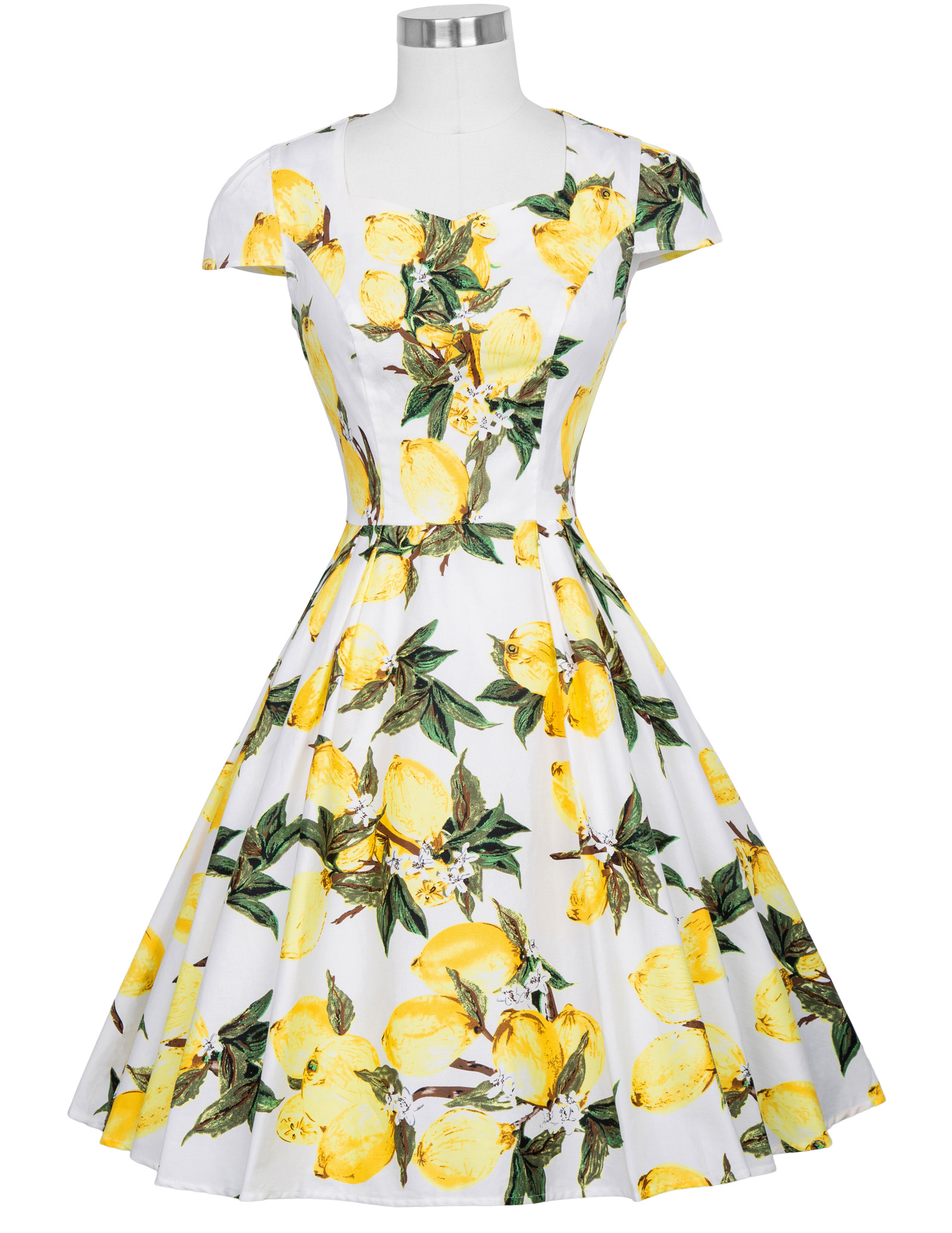 2018 Flower Summer Women Dress Vintage Cap Sleeve Floral 1950s Flare A-Line Party Jurken Audrey Hepburn 50s 60s Vintage Dress
