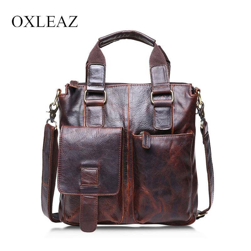 купить OXLEAZ Brand Male Genuine Crazy Horse Leather Small Handbag Vintage Cowhide Men Messenger Shoulder Bag Crossbody Bags for Man по цене 4722.43 рублей