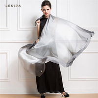 LESIDA 100 Silk Scarf Women Gradient Color Shawl Soft Long Cachecol Pashmina Stole Poncho And