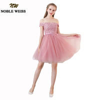 NOBLE WEISS Cute Dust Pink Short Bridesmaid Dresses With Applique Lace Wedding Party Dress New Women Formal Vestido madrinha