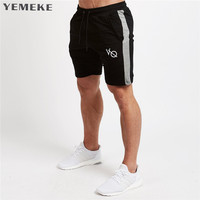 YEMEKE 2018 Top Quality Men Casual Brand Gyms Fitness Shorts Men Professional Bodybuilding Short Pants S