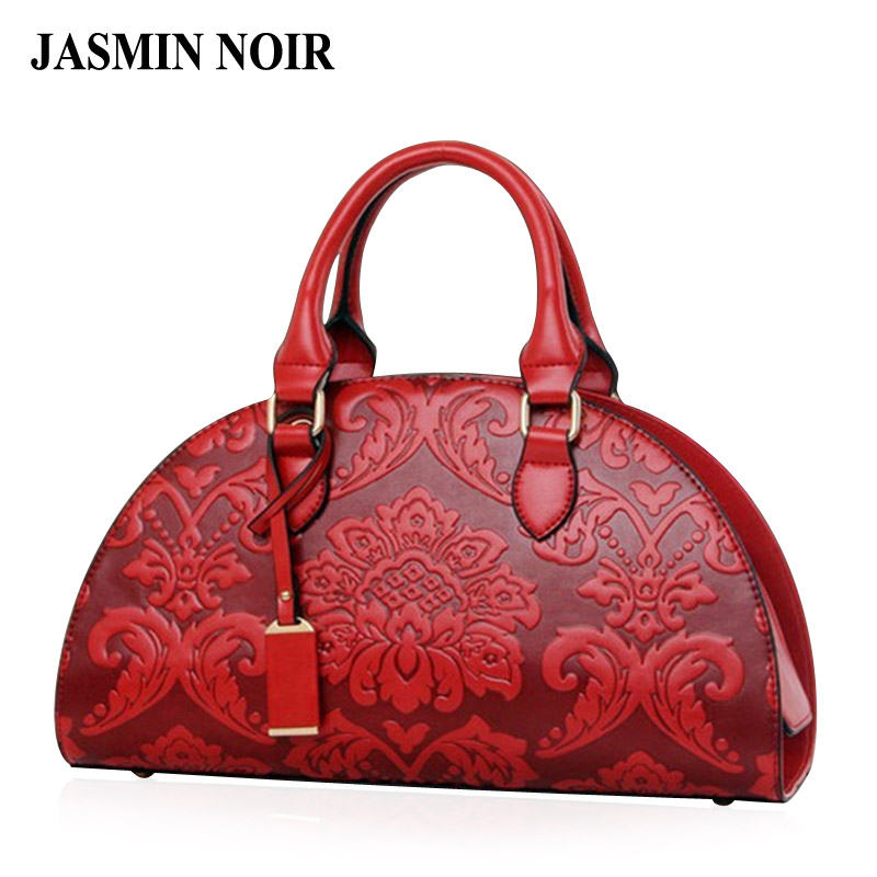 New Flowers Embossed Chinese Style Vintage Fashion Women Shell Bag Leather Wome