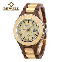 BEWELL Top Brand Luxury Casual Antique Lover's Round Wood Wrist Watch With Complete Date Ladies Clock Relogio Masculino 100AG