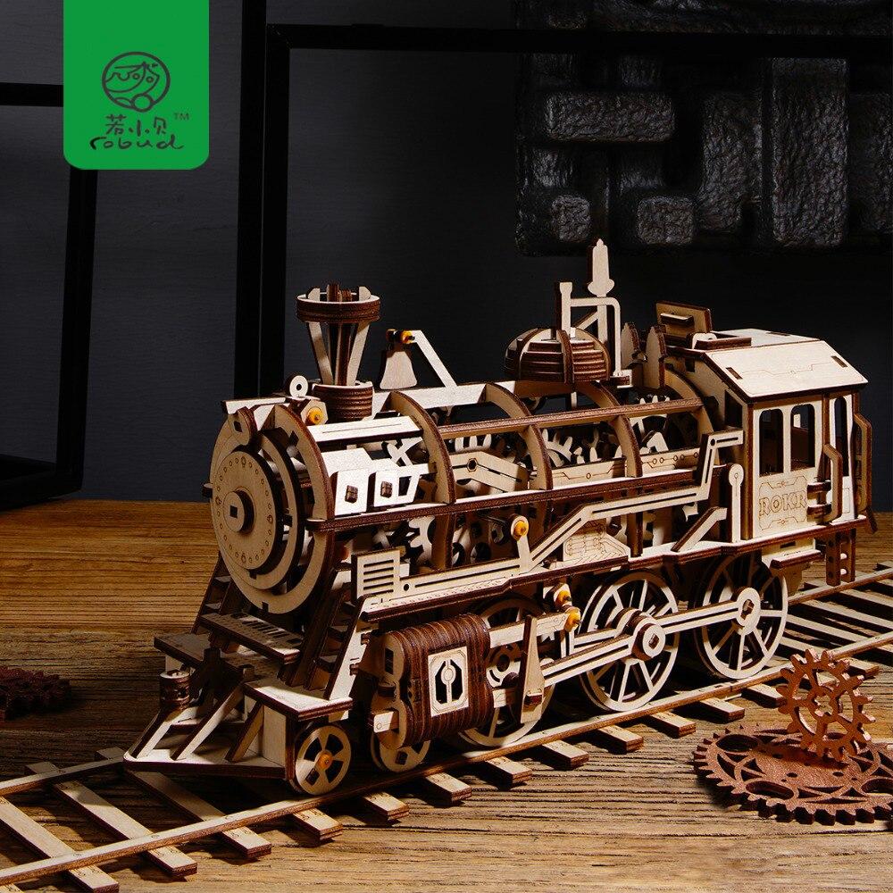 Robud DIY подвижный локомотив по Заводной деревянной Модели Строительные наборы Сборка игрушки подарок для мальчиков и девочек LK701 для дропшип...