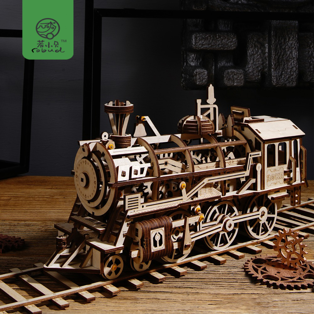 Robud DIY Movable Locomotive by Clockwork Wooden Model Building Kits Assembly Toys Gift for Boys & Girls LK701 for Dropshipping