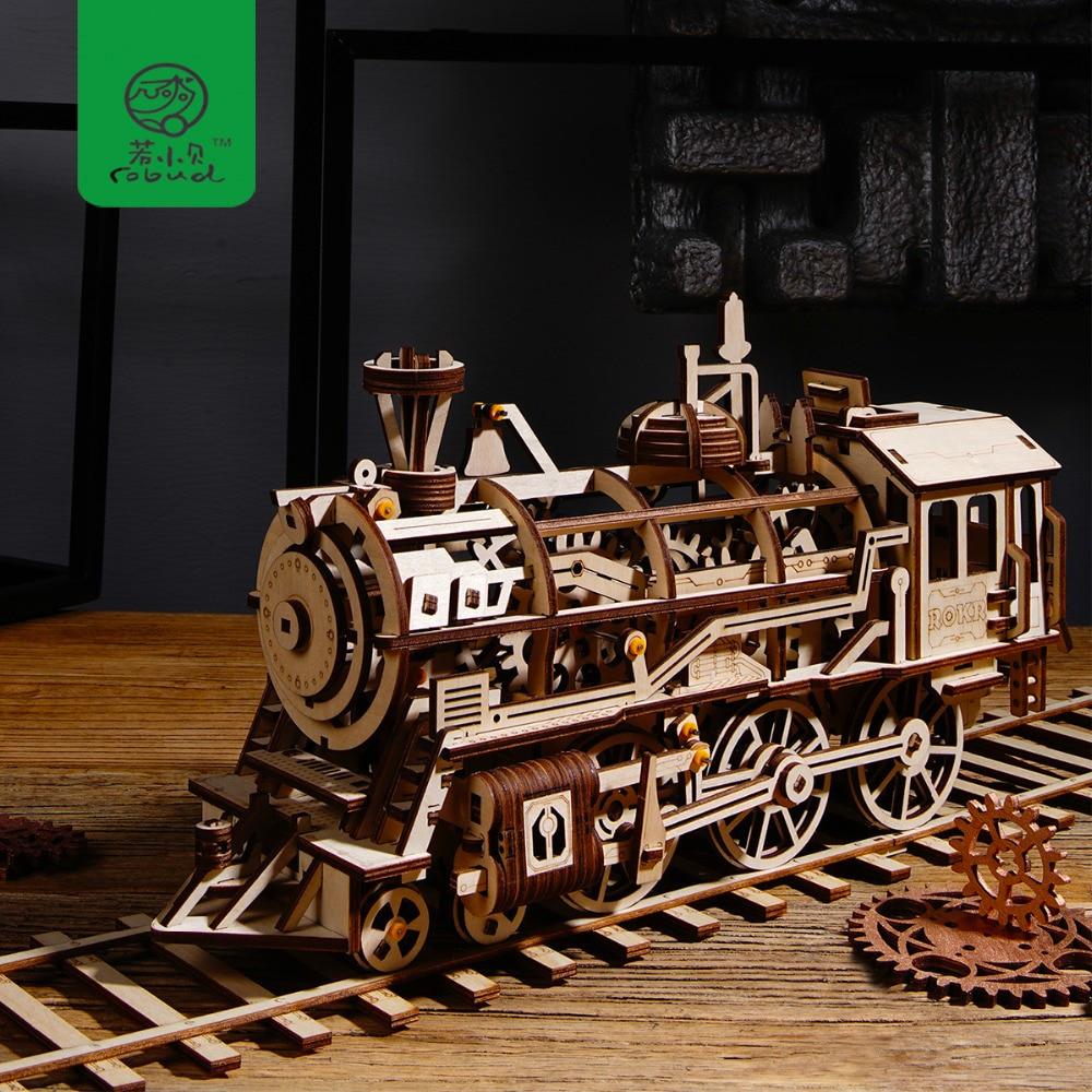 Robud diy 움직일 수있는 기관차 시계로 나무로되는 모형 건물 장비 조립 장난감 소년 & 소녀를위한 선물 lk701 dropshipping를 위해-에서모델 빌딩 키트부터 완구 & 취미 의  그룹 1