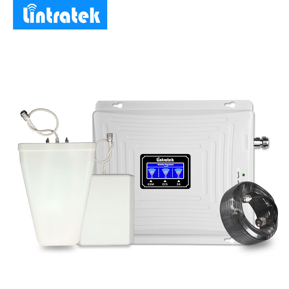 Lintratek Signal Booster Repeater Amplifier 2G 3G 4G Tri Band GSM 900MHz 3G UMTS 2100MHz 4G LTE 1800MHz Antenna Full Kit -