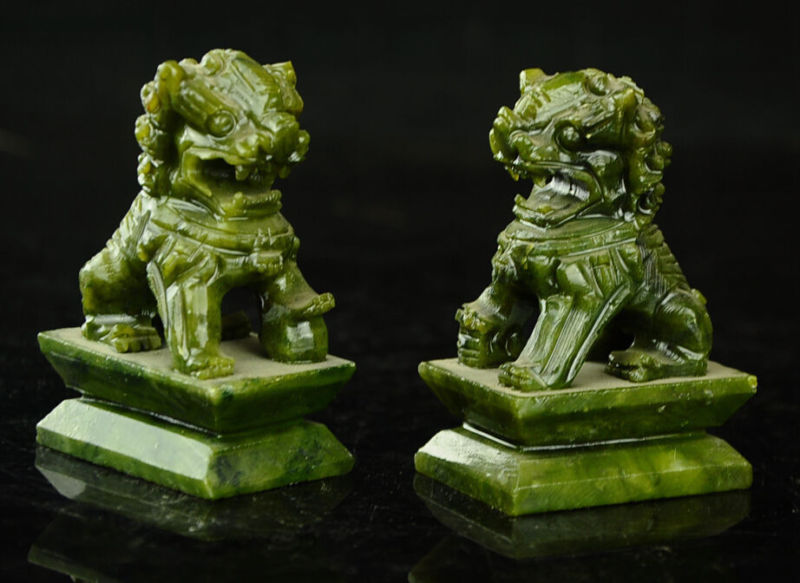 Rare A Pair China Natural Jade Hand-carved Statues Fo Dog Lion