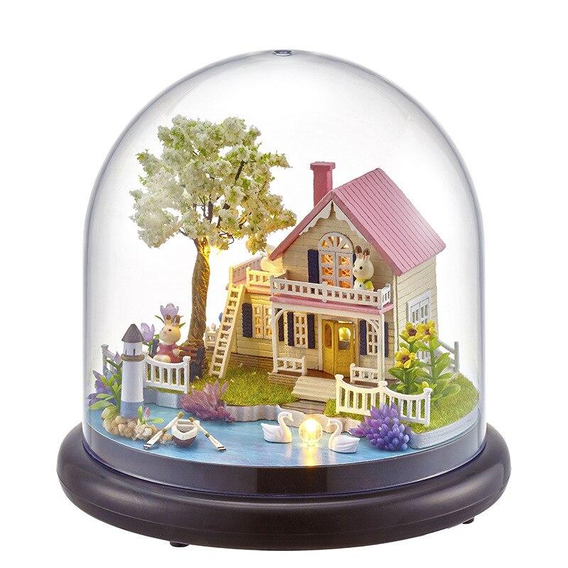 Оптовая продажа от производителя собран вручную мини-дом diy здание хижина модель украше ...