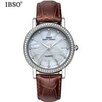 IBSO Date Elegant Shell Dial Watch For Women Fashion Travel Genuine Leather Strap Watch Woman High Quality Relojes De Mujer 2018