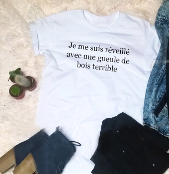 top Tops New Arrival Street Style French T Shirt Hungover Slogan Yellow Women Fashion Girl Aesthetic Grunge Tumblr Female Tee image