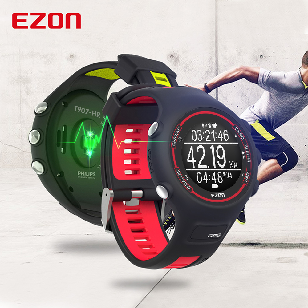 EZON Bluetooth Smart Watches Optical Sensor Heart Rate Monitor GPS Running Digital Watch for IOS Android- T907-HR Red ezon gps hrm heart rate monitor sports hiking training fitness watch calories pedometer bluetooth 4 0 smart sports watch t033