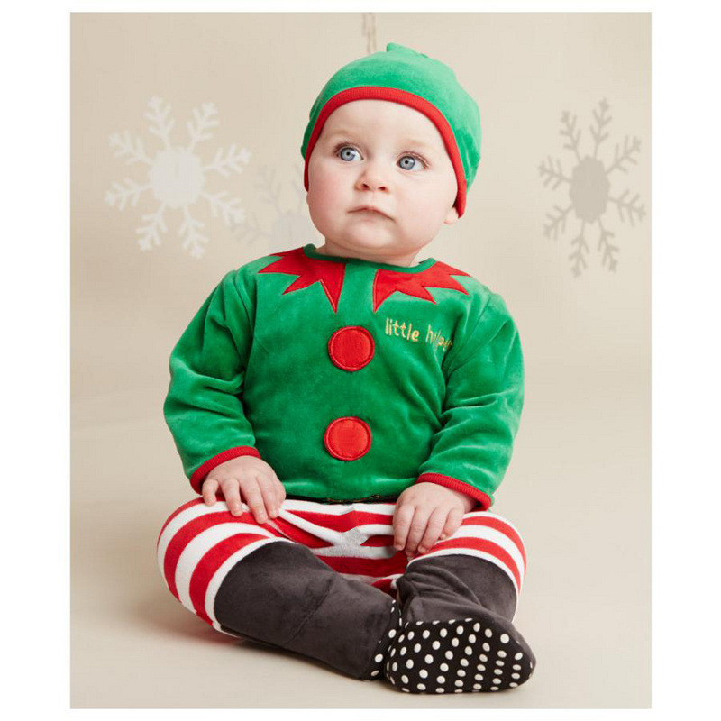 Newest Christmas Baby Clothes Romper Hat Sets Green Little Helper Bebe Body Suit Footcover Cap Boys Outfits