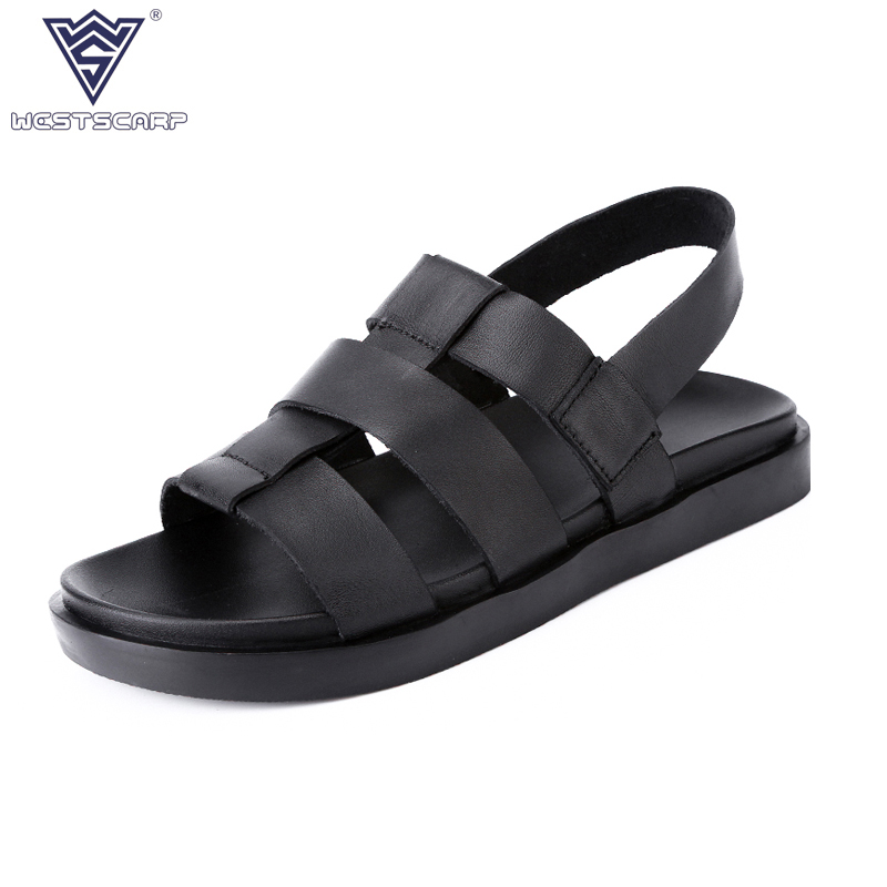 WEST SCARP 2018 New Mens Sandals Summer Top Quality Outdoor Casual Genuine Leather Sandals Fashion Male Shoes Size 38-44