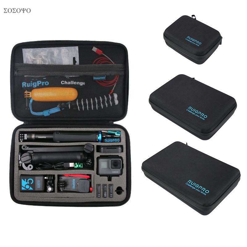 Llevar portátil de almacenamiento de bolsa de funda protectora caja 3 tamaño bolso para GoPro héroe 7 6 5 4 3 2 Xiaomi YI Sjcam accesorios bolsa de la cámara