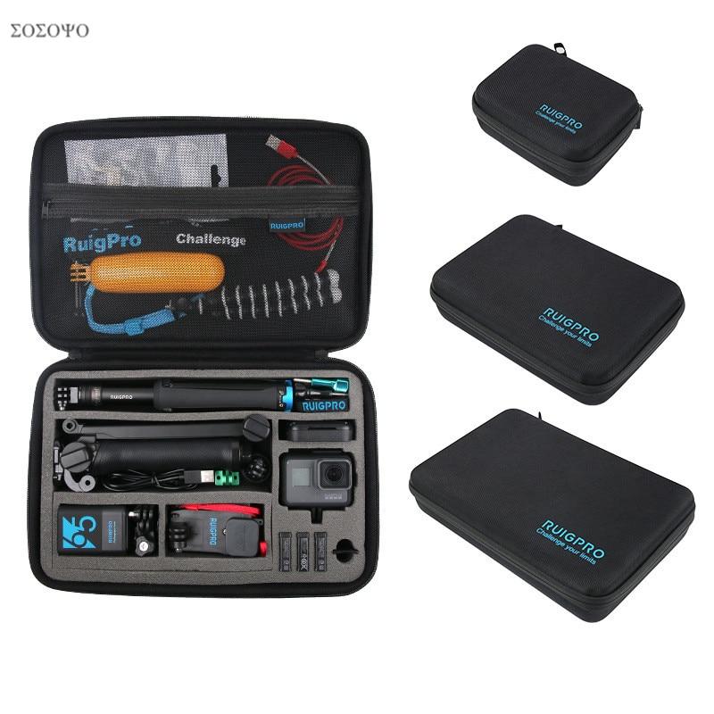 Portátil levar saco de armazenamento caixa protetora 3 tamanho bolsa para gopro hero 8 7 6 5 4 3 xiaomi yi sjcam acessórios saco da câmera