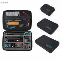 Portable transporter sac de rangement étui de protection boîte 3 taille sac à main pour GoPro Hero 7 6 5 4 3 2 Xiaomi YI Sjcam accessoires caméra sac
