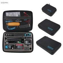 Taşınabilir taşıma saklama çantası koruyucu kılıf kutusu 3 boyutu çanta GoPro Hero 8 7 6 5 4 3 Xiaomi YI sjcam aksesuarları kamera çantası
