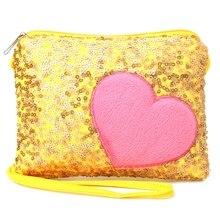 2019 New Mini Shoulder Bag Kids Children Girls Heart Sequin Messenger Handbag Purse Gifts