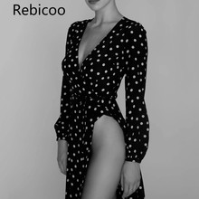 Summer dress 2018 vintage boho Sexy deep V neck Polka Dot wrap dress women long sleeve black chiffon party beach dress polka dot self tie wrap dress