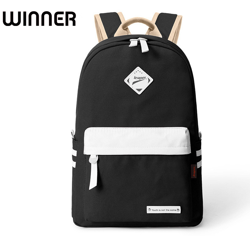 Preppy Style Fashion Women Canvas Solid School Bag Brand Travel Black Backpack For Girls Teenagers Stylish Laptop Bag Rucksack new design women bag denim backpack preppy style school backpacks for teenagers girls fashion casual travel bags rucksack a0284