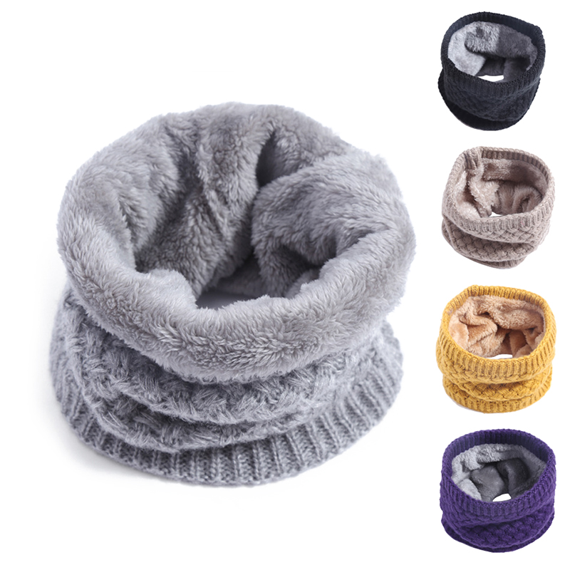 Winter Baby Ring Scarf Kids Boys Girls Autumn Cotton Scarf Thicken Velvet Knitted Wool Warm Snood Children Braga Neck Scarves
